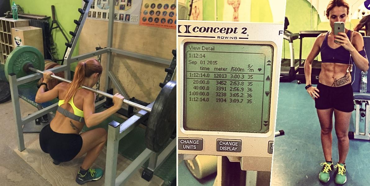Back squat in action e un selfie dopo 12 km con il vogatore, il mio record assoluto