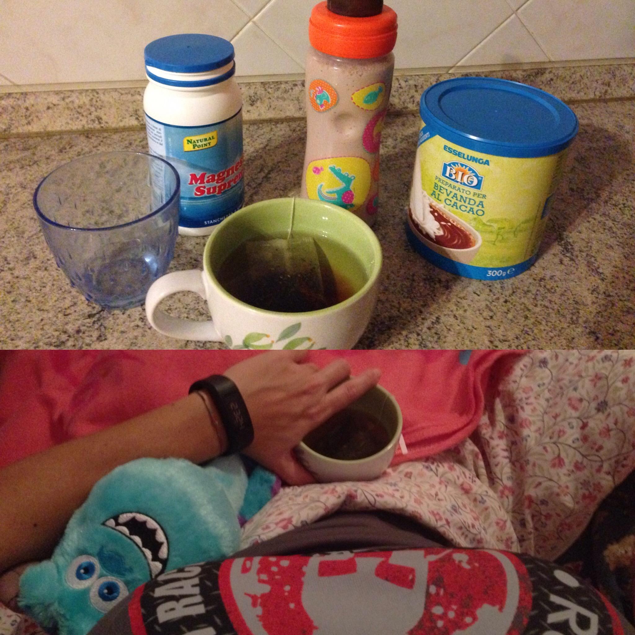 I nostri rituali prima di andare a dormire: magnesio supremo,e tisana per noi grandi e latte caldo per Adele
