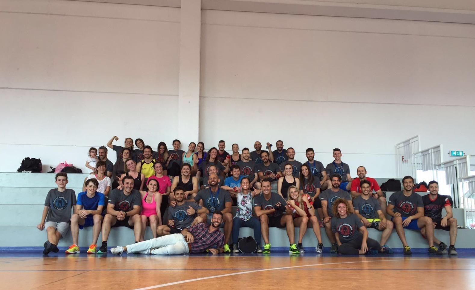 Parte del team all'allenamento post Spartan. Briga Novarese (NO), centro polifunzionale